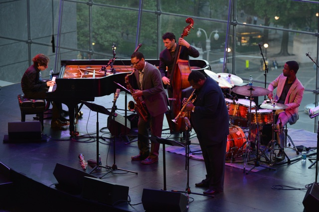 Left to Right: Gadi Lehavi, Ravi Coltrane, John Patitucci, Wallace Roney, Marcus Gilmore, play Jazz at Lincoln Center's Allen Room.(Photo by Frank Stewart/Courtesy of JALC)