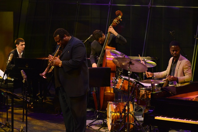 Left to Right: Beka Gochiashvili, Wallace Roney, John Patitucci, Marcus Gilmore(Photo by Frank Stewart/Courtesy of JALC)