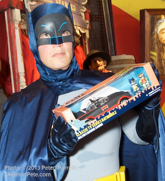 The Caped Crusader Shows Off Mezco Toyz 60's Batmobile Playset