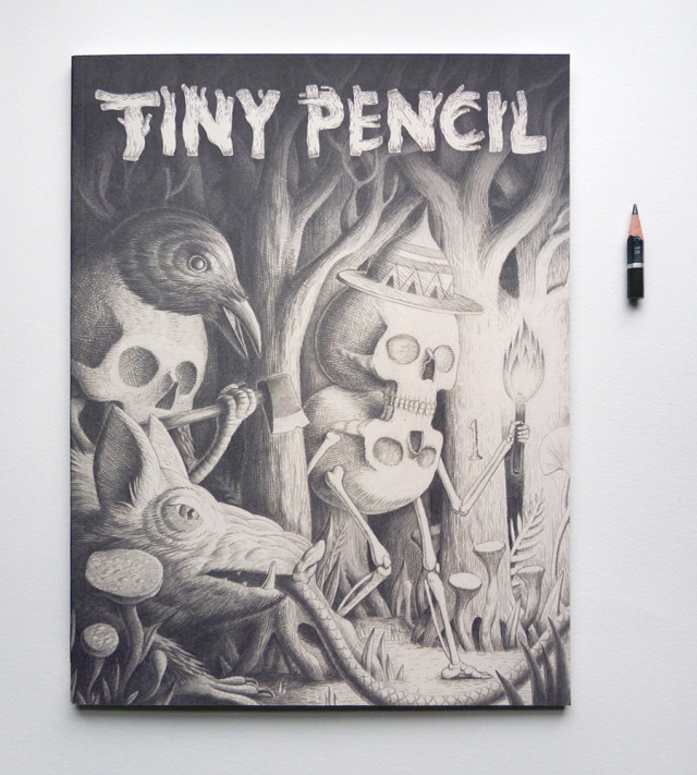 Nicky Sheehy's Cover for Tiny Pencil #1, Alongside a Titular Object (Photo Courtesy of Tiny Empire Press)
