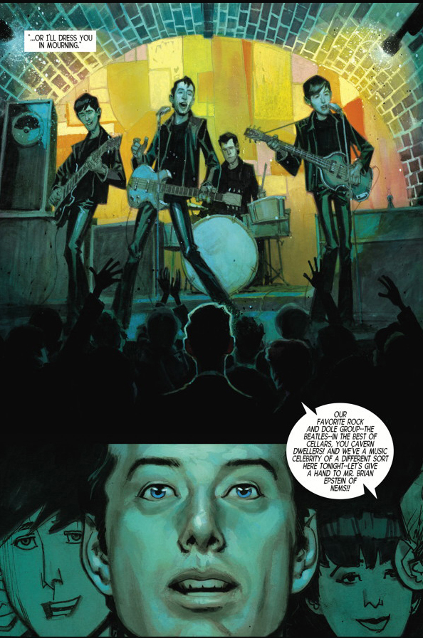This Magic Moment: Brian Epstein Encounters The Beatles in Liverpool's Cavern Club (Illustration courtesy of Dark Horse Comics)