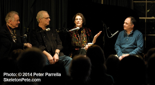 (L to R) David Amram, Matt Umanov, Terri Thal and Ashley Kahn discuss Greenwich Village in the 1960's.