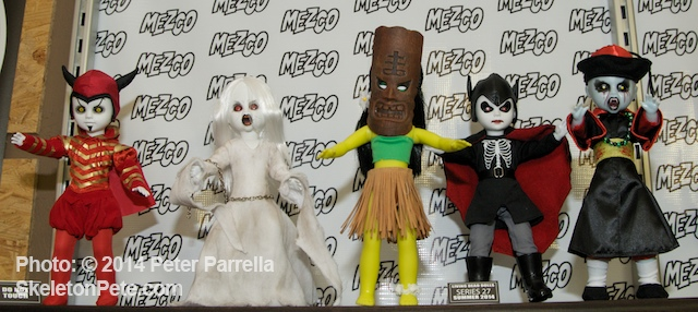 Mezco Toyz, Living Dead Dolls Series 27. (L to R) Mephistopheles, The Banshee, Milu, Spring-Heeled Jack and The Hopping Vampire