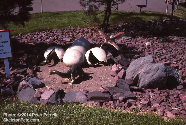 """An """"Animal World"""" like Tableau featured Brontosaurus Hatchlings Being Menaced."""