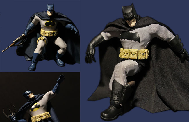 Black and Blue Cowled Variants and lots of cool weapons and tools for Mezco's Dark Knight (Photos: Peter Keehn/Courtesy of Mezco Toyz)