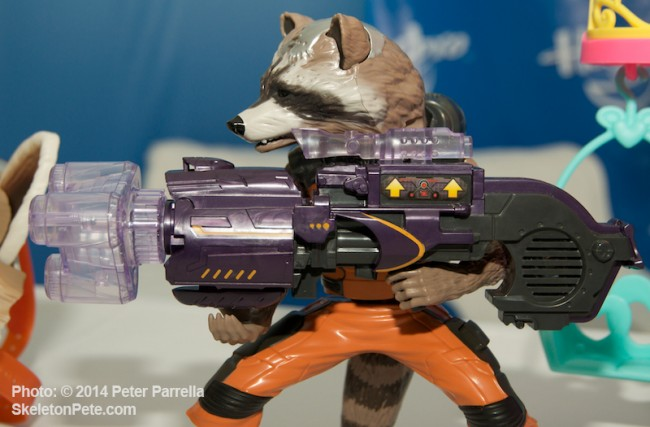 Rocket's Action is Activated from his Gun Scope or Leg Mounted Button.