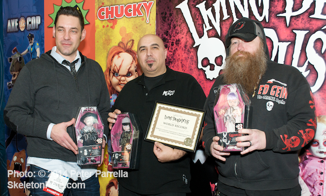Mezco's Mez, Damian and Ed received Living Dead Doll World Record Award at NY Toy Fair 2014.