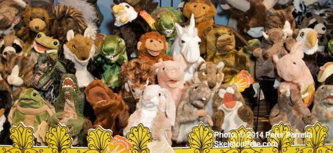 Just a small sampling of the menagerie of friendly faced Folkmanis puppets.