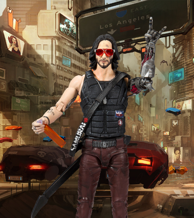 cyberpunk 2077, keanu reeves, johnny silverhand, mcfarlane toys, action figures